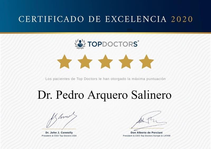 Certificado Excelencia 2020 Top Doctors al Doctor Pedro Arquero Salinero