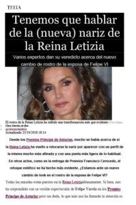 Recorte revista Telva sobre la nariz de la Reina Letizia