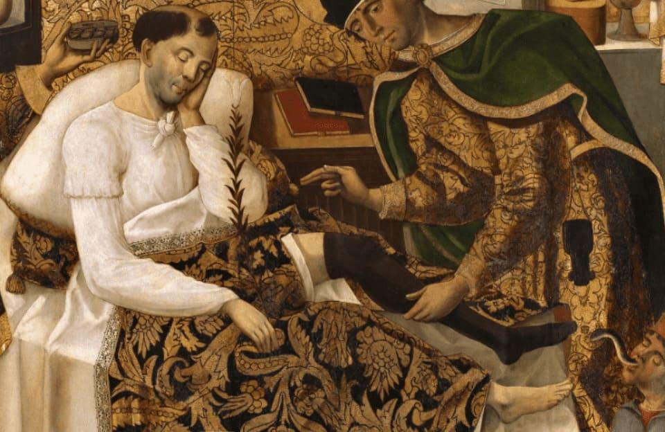 """Imagen del cuadro """"Milagros de los santos médicos Cosme y Damián"""" representando la importancia de la formación y la experiencia como valor en la actividad médica"""